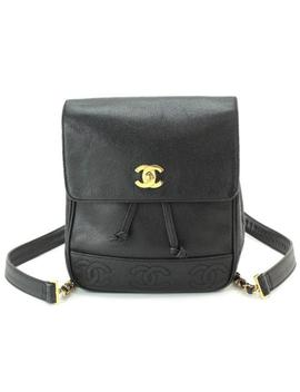 Auth Chanel Triple Cc Chain Back Pack Cavier Skin Leather Black Vintage 90038752 by Chanel