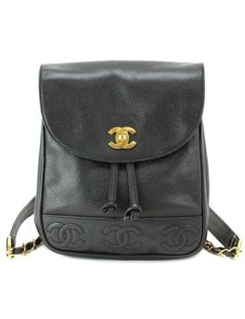 Auth Chanel Cavier Skin Back Pack Leather Black Vintage Purse 90034121 by Chanel