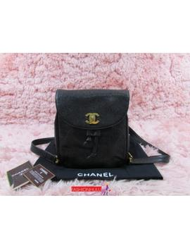 Vintage Chanel Black Caviar Small Flap Backpack Gold Hw by Chanel