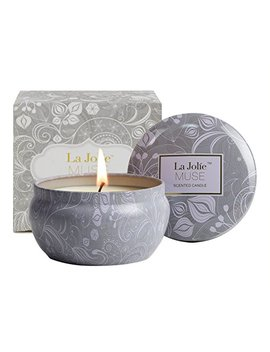 La Jolie Muse Scented Candles Blue Lotus Aromatherapy Candle Soy Wax, Stress Relief Travel Tin, 45 Hours Burn Time by La Jolie Muse