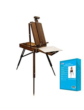 "U.S. Art Supply Walnut Coronado French Style Easel & Sketchbox With 12"" Drawer, Wooden Pallete & Shoulder Strap by Us Art Supply"