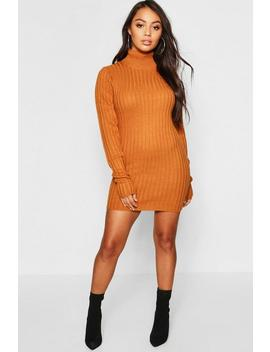Petite Rib Knit Roll Neck Jumper Dress by Boohoo