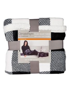 Oversized Velvet Plush Throw Blanket With Cozy Foot Pocket, Black,White by Cuddl Duds