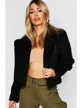 Petite Bonded Teddy Aviator Jacket by Boohoo