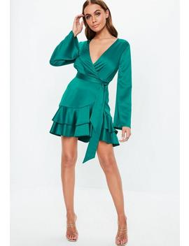 Teal Plunge Wrap Skater Dress by Missguided