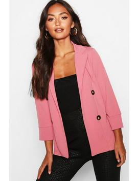 Petite Open Front Button Blazer by Boohoo