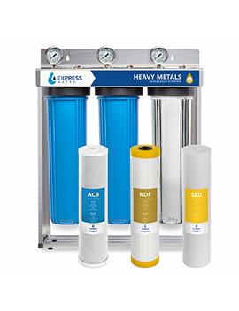 """Express Water Heavy Metal Whole House Water Filter – 3 Stage Home Water Filtration System – Sediment, Kdf, Carbon Filters – Includes Pressure Gauges, Easy Release, And 1"""" Inch Connections by Express Water"""