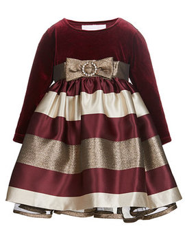 Baby Girls Velvet Jacquard Dress by Bonnie Baby