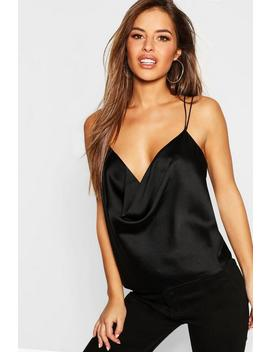 Petite Cowl Neck Double Strap Cami In Satin by Boohoo