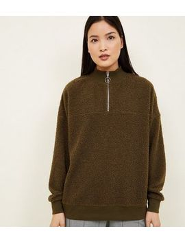 Khaki Borg Ring Zip Up Funnel Neck Sweatshirt by New Look