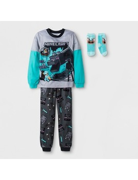 Boys' Minecraft 2pc Pajama Set With Sock   Gray by Minecraft