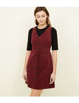 Plum Corduroy Button Front Dress by New Look