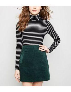 Dark Green Welt Pocket Corduroy Skirt by New Look