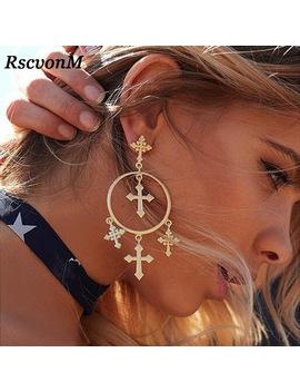 Rscvon M New Fashion Multiple Cross Dangle Earrings Jewelry Vintage Gold Color Cross Chandelier Earrings For Women Best Gift by Rscvon M