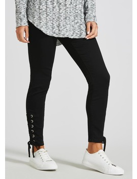 Jessie Eyelet Lace Up High Waisted Jeans by Matalan