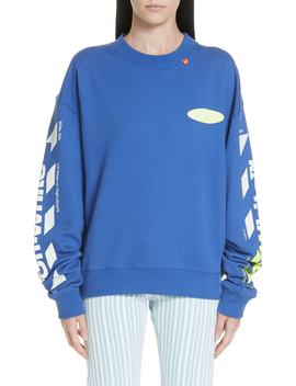 Diagonal Split Logo Crewneck Sweatshirt by Off White