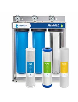"Express Water Whole House Water Filter – 3 Stage Home Water Filtration System – Sediment, Charcoal, Carbon Filters – Includes Pressure Gauges, Easy Release, And 1"" Inch Connections by Express Water"
