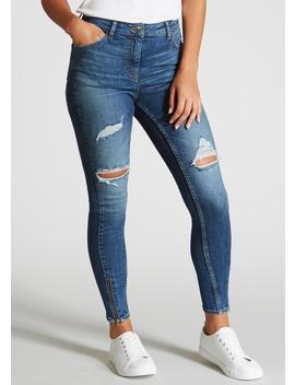 April Super Skinny Zip Hem Ripped Jeans by Matalan
