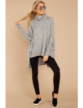 Last To Love Heather Grey Cowl Neck Sweater by Story