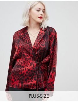 Unique21 Hero Wrap Tie Front Leopard Print Top by Asos Brand