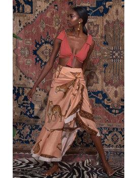 Tropical Agitations Printed Cotton Wrap Skirt by Johanna Ortiz