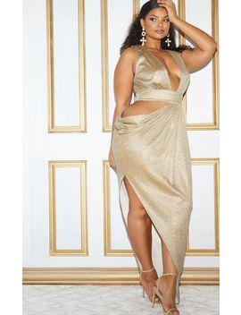 Plus Gold Glitter Asymmetric Cut Out Maxi Dress by Prettylittlething