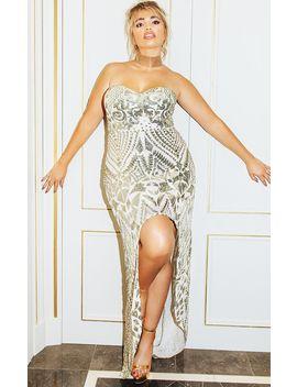 Plus Gold Sequin Bandeau Asymmetric Hem Maxi Dress by Prettylittlething