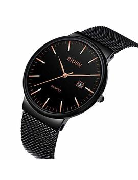 Watch, Mens Ultra Thin Watch Simple Fashion Luxury Wrist Watches For Men Business Dress Casual Waterproof Quartz Watch For Man With Stainless Steel Mesh Band by Biden