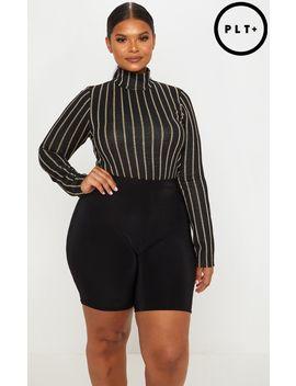 Plus Black Striped Textured Glitter High Neck Bodysuit by Prettylittlething