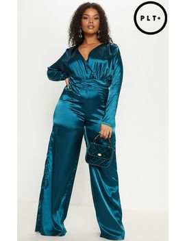 Plus Emerald Green Satin Ruched Waist Jumpsuit  by Prettylittlething