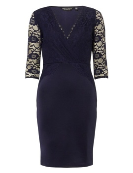 **Navy Lace Top Bodycon Dress by Dorothy Perkins