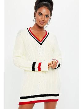 Cream V Neck Cable Knitted Sweater Dress by Missguided