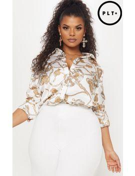 Plus White Chain Print Satin Shirt  by Prettylittlething