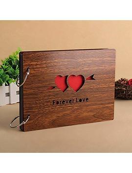 Superwinger 22 * 16 Cm Scrapbook Diy Photo Album Black Pages Wood Scrapbook (Forever Love) by Superwinger