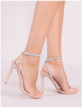 Inspo Perspex And Diamante Heels In Nude by Public Desire