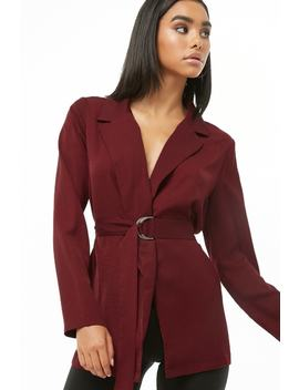 D Ring Belted Blazer by Forever 21
