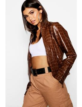 Crocodile Print Pu Jacket by Boohoo
