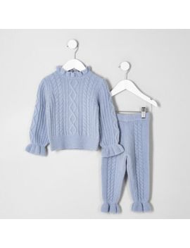 Mini Girls Blue Cable Knit Sweater Set by River Island