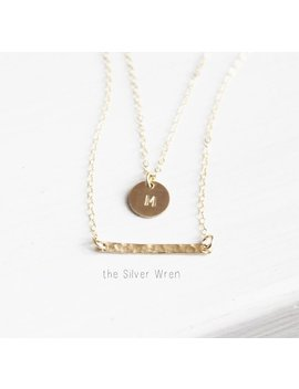 Double Strand Initial Necklace, Personalized Necklace, Gold Or Silver Layer Necklace, Custom Initial Necklace, Gift For Her, The Silver Wren by Etsy
