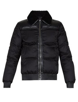 Shearling Collar Down Padded Jacket by Prada