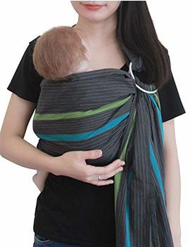 Vlokup Baby Ring Sling Carrier For Newborn Original Adjustable Infant Lightly Padded Wrap Breastfeeding Privacy 100 Percents Cotton Grey Rainbow by Amazon