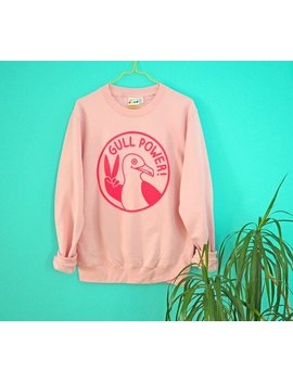 Gull Power Jumper, Pink Girl Power Sweater, Spice Girls Top, Seagull Sweater, Pink Sweatshirt, Screenprinted Jumper, Feminist Sweater, Funny by Etsy