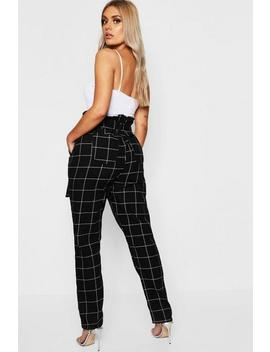 Plus Paperbag Waist Check Jean by Boohoo