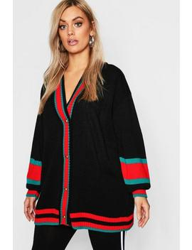Plus Contrast Stripe Oversized Cardigan by Boohoo
