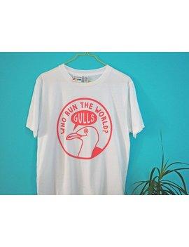 Seagull T Shirt, Funny Illustrated Beyonce Tshirt, Feminist Shirt, Fun Pink Screenprinted Tee, Cute Animal Tshirt, Who Run The World T Shirt by Etsy