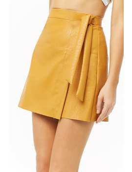 Faux Leather Wrap Mini Skirt by Forever 21