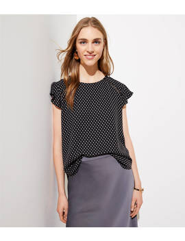 Petite Dotted Tie Back Flutter Top by Loft