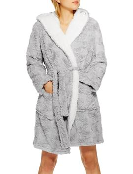 Squiggle Faux Fur Fluffy Robe by Topshop