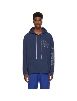 Navy Embroidered Logo Hoodie by Adaptation