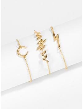 Leaf & Lightning Chain Bracelet Set 3pcs by Shein